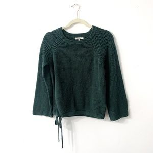 Madewell Green Waffle Knit Side Tie Sweater